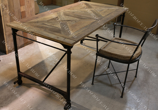 American French European Industry To Do The Old Style Wrought Iron Intended For Widely Used Parquet Dining Tables (View 4 of 20)