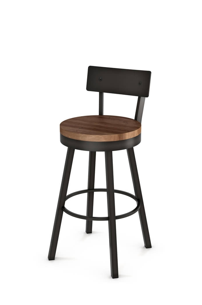 Amisco's Lauren Swivel Counter Stool W/ Distressed Wood Seat For Preferred Laurent Wood Side Chairs (Gallery 9 of 20)