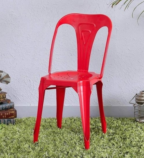 Amos 7 Piece Extension Dining Sets Inside Well Liked Buy Amos Metal Chair In Red Colorbohemiana Online – Metal Chairs (View 15 of 20)