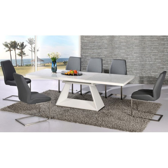 Amsterdam Extending Glass And White Gloss Dining Table Set Throughout Well Known Glass And White Gloss Dining Tables (View 2 of 20)