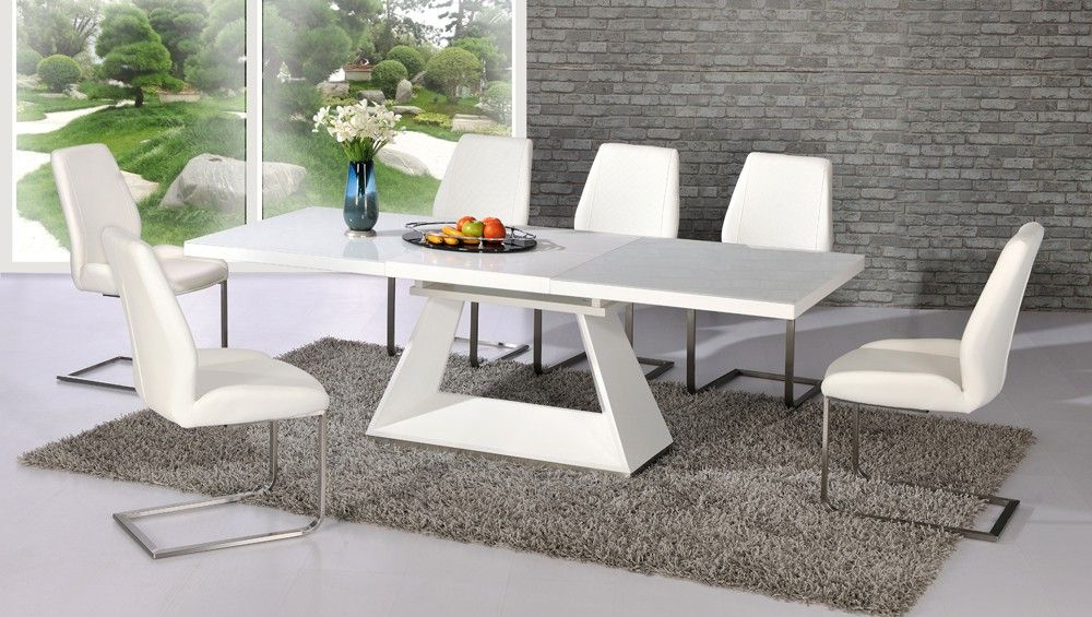 Amsterdam White Glass And Gloss Extending Dining Table 6 Chairs For 2018 Extending Dining Tables 6 Chairs (Gallery 9 of 20)