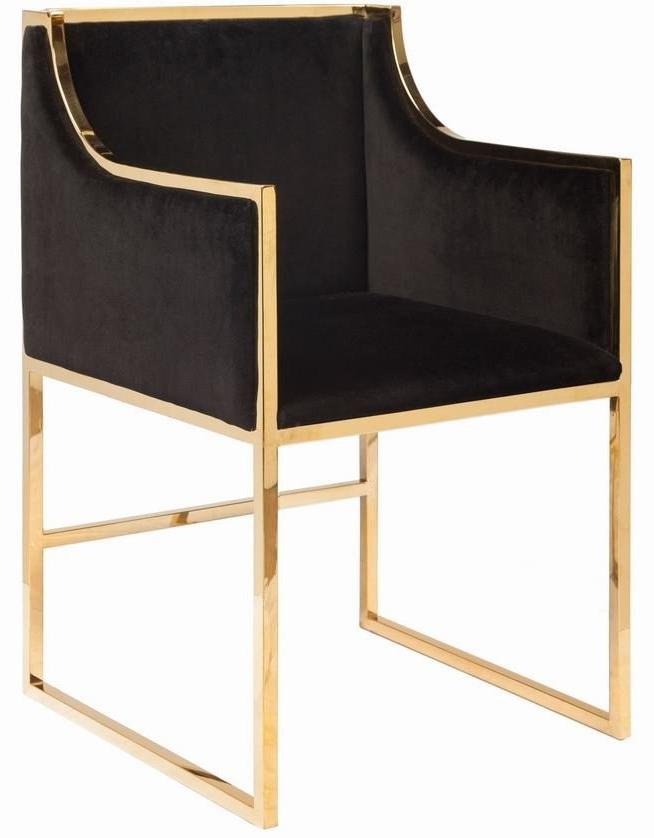 Anabelle Brass And Black Velvet Dining Chair Inside 2018 Velvet Dining Chairs (View 18 of 20)