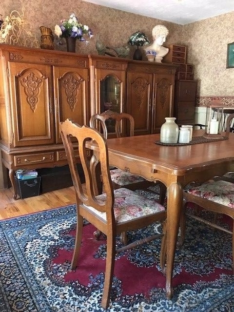 Antique Country French Oak Parquet Dining Table W/6 Chairs, Hutch For Recent Parquet Dining Chairs (View 11 of 20)