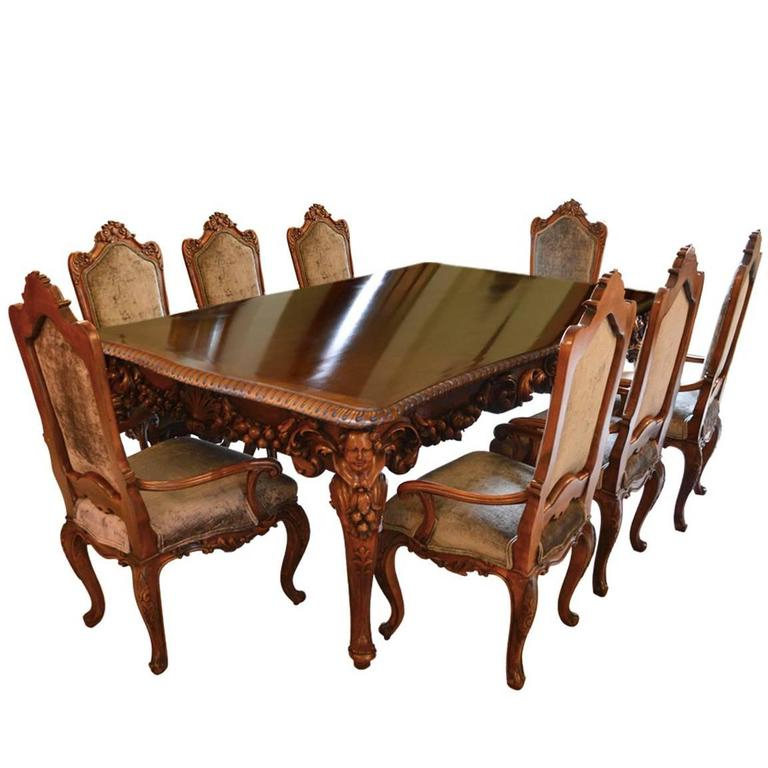 Antique Italian Dining Room Set With Table, Chairs, Buffet, Consoles For Well Liked Italian Dining Tables (View 9 of 20)