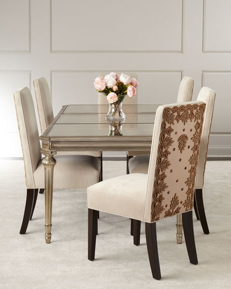 Antique Mirror Dining Tables Throughout Famous Roberta Antiqued Mirrored Dining Table (View 4 of 20)