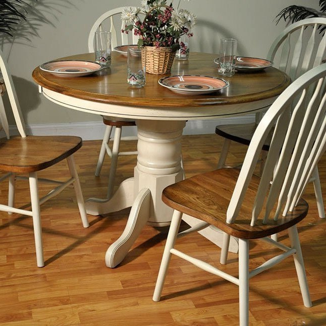 Antique White And Oak Round Dining Table – Dining Room And Kitchen Intended For 2018 Oak Round Dining Tables And Chairs (View 11 of 20)