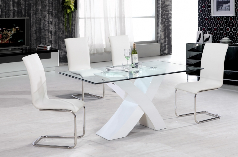Arizona Dining Set – White Gloss – Glass Dining Sets Pertaining To Preferred Glass And White Gloss Dining Tables (View 3 of 20)