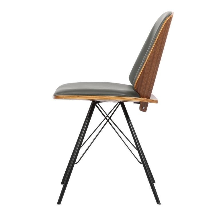 Armen Living Inez Mid Century Dining Chair In Gray Faux Leather With Inside Popular Plywood & Metal Brown Dining Chairs (View 2 of 20)