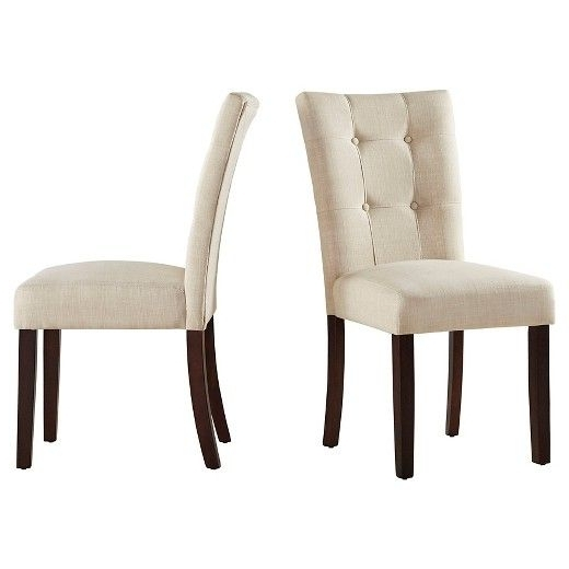 Armless Oatmeal Dining Chairs Pertaining To Best And Newest Inspire Q Chanay Button Tufted Linen Dining Chair (set Of (View 1 of 20)