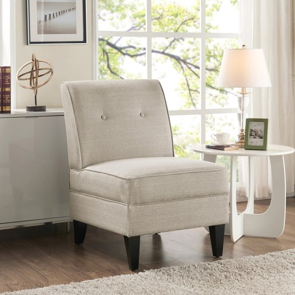 Armless Oatmeal Dining Chairs Regarding Well Known Shop Handy Living Courtney Oatmeal Linen Armless Chair – On Sale (View 7 of 20)