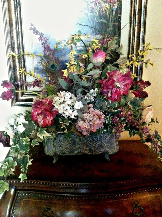 Artificial Floral Arrangements For Dining Tables Inside Current Traditional Floral Arrangement, Formal Dining Table Flowers, Classic (Gallery 14 of 20)