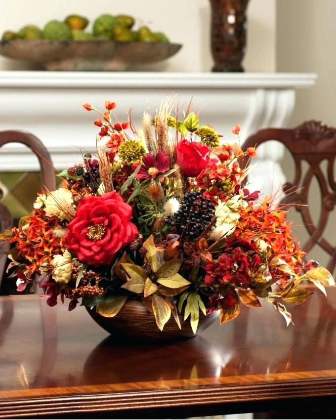 Artificial Floral Arrangements For Dining Tables Throughout Current Silk Flower Arrangements For Dining Room Table – Napawinetours (View 18 of 20)