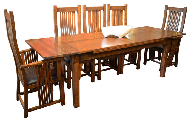Arts And Crafts Oak Dining Table With 2 Leaves, 8 High Back Chairs Within Well Known Craftsman 7 Piece Rectangle Extension Dining Sets With Arm & Side Chairs (View 3 of 20)