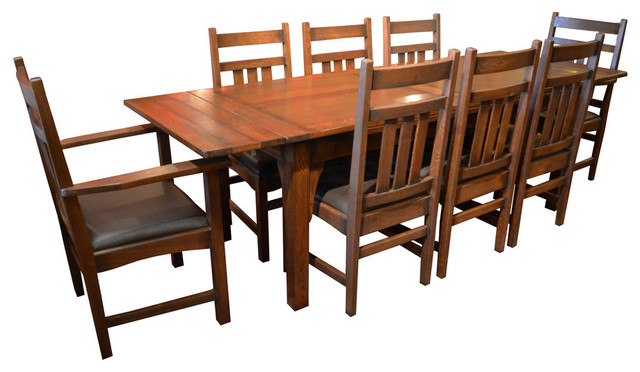 Arts And Crafts Oak Dining Table With 2 Leaves And 8 Dining Chairs Throughout Well Liked Craftsman 7 Piece Rectangular Extension Dining Sets With Arm & Uph Side Chairs (View 6 of 20)