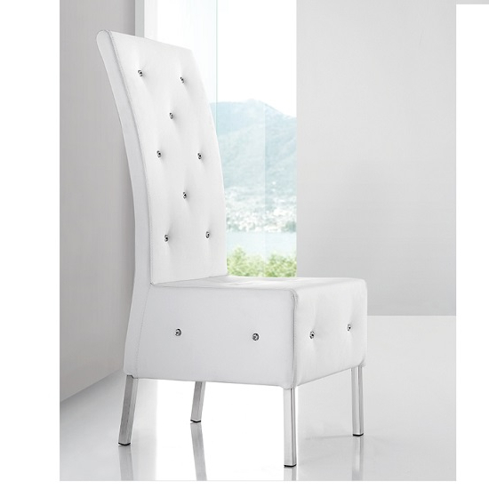 Asam Studded Faux Leather Dining Room Chair In White 21093 Inside Widely Used White Leather Dining Room Chairs (View 2 of 20)