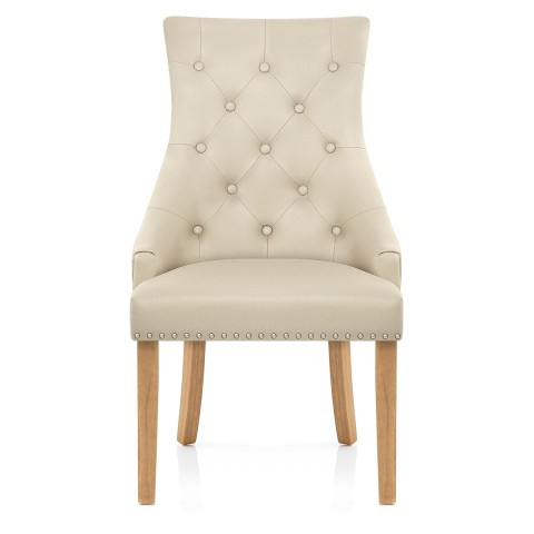 Ascot Oak Dining Chair Cream Leather – Atlantic Shopping Inside Favorite Oak Leather Dining Chairs (View 1 of 20)