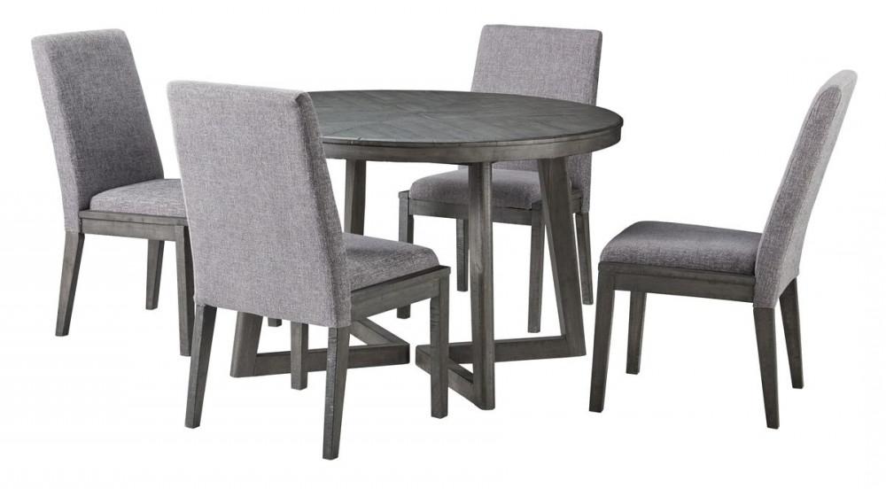 Ashley Furniture Besteneer Round Dining Set In Dark Grey (View 2 of 20)