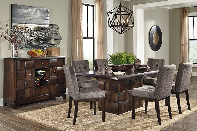 Ashley Furniture Home Store Chanella Dark Brown Modern Dining Set Inside Well Liked Jaxon 6 Piece Rectangle Dining Sets With Bench & Uph Chairs (View 3 of 20)