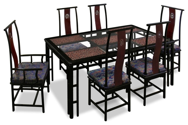 "Asian Dining Tables Within Most Current 74"" Rosewood Ming Style Dining Table With 6 Chairs – Asian – Dining (View 1 of 20)"