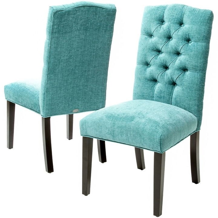 Asstd National Brand Macie Set Of 2 Tufted Parsons Chair, Teal In Trendy Macie Side Chairs (Gallery 1 of 20)