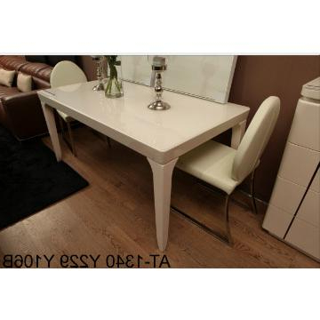 At 1340, China Tempered Glass In Cream Color And Mdf Dining Table In 2018 Cream Gloss Dining Tables And Chairs (Gallery 12 of 20)