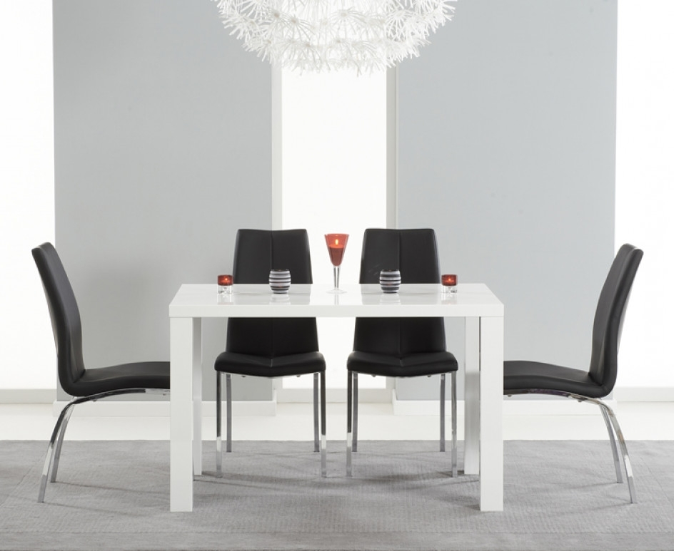 Atlanta 120cm White High Gloss Dining Table With Cavello Chairs With Regard To Popular Black Gloss Dining Tables (View 12 of 20)