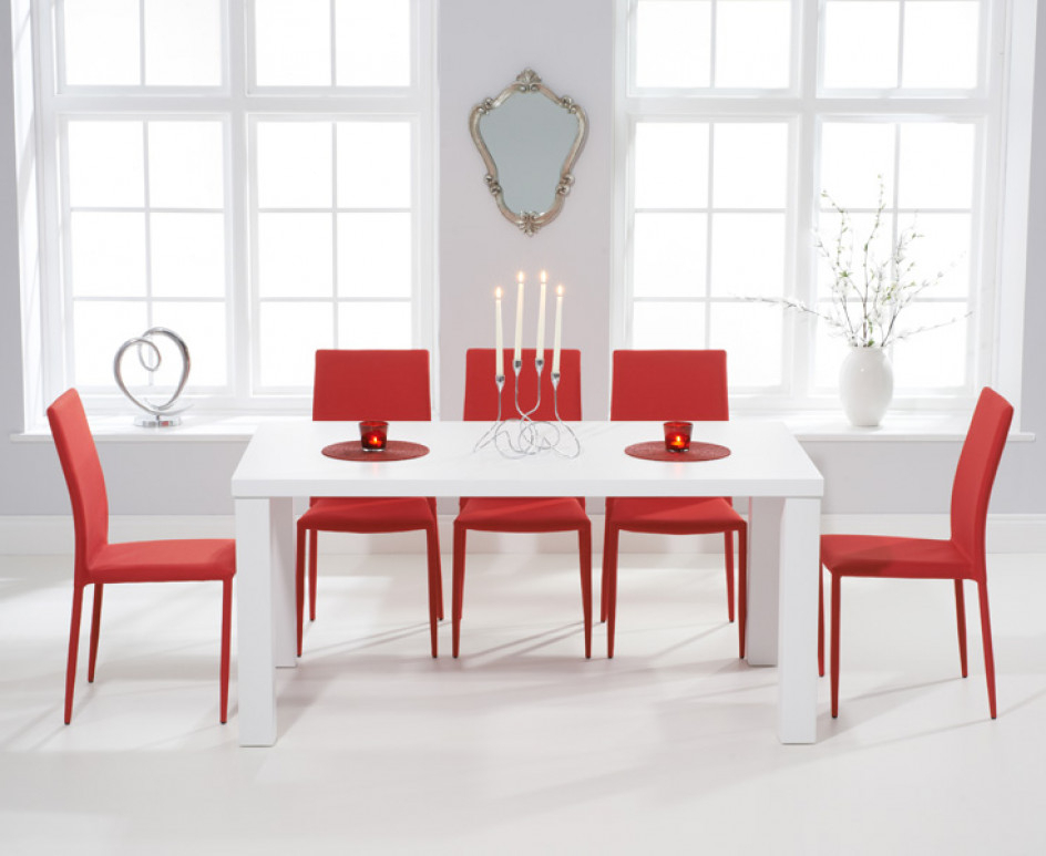 Atlanta 160Cm White High Gloss Dining Table With Red Atlanta Intended For Current Red Gloss Dining Tables (View 6 of 20)