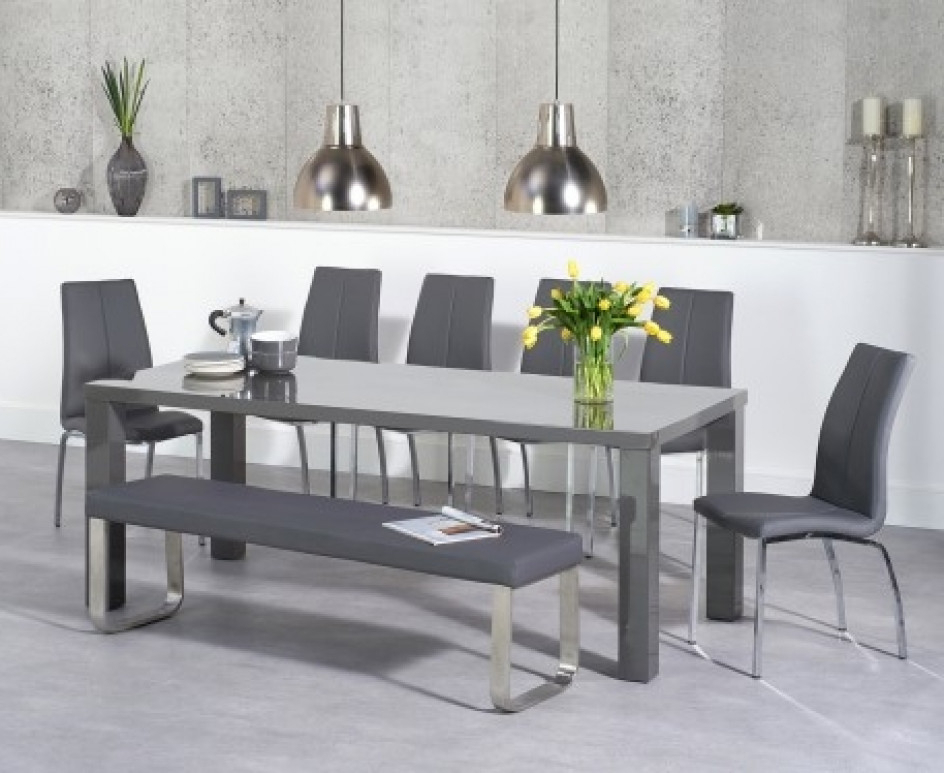 Atlanta 200Cm Dark Grey High Gloss Dining Table With Cavello Chairs With Regard To Most Recently Released Grey Gloss Dining Tables (View 3 of 20)