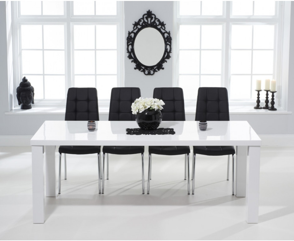 Atlanta 200Cm White High Gloss Dining Table With Calgary Chairs In Well Known Black High Gloss Dining Tables And Chairs (Gallery 17 of 20)
