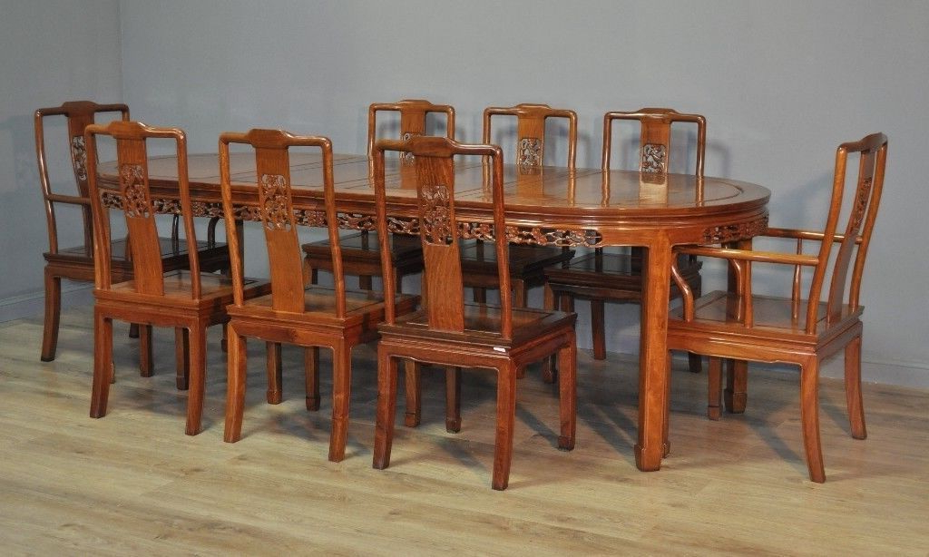 Attractive Large Oriental Carved Extending Dining Table & 8 Chairs For Most Current Extending Dining Tables And 8 Chairs (View 16 of 20)