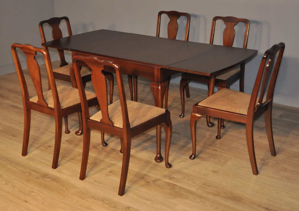 Attractive Vintage Queen Anne Walnut Draw Leaf Dining Table & 6 Throughout Preferred Walnut Dining Table And 6 Chairs (Gallery 14 of 20)