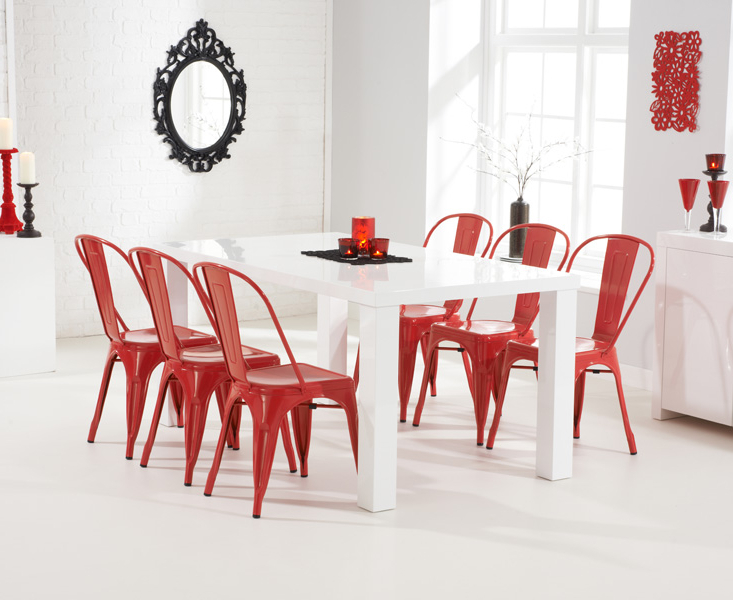 [%Ava 180Cm White High Gloss Dining Table + 6 Red Metal Chairs [255094 Regarding 2017 Red Gloss Dining Tables|Red Gloss Dining Tables Inside Newest Ava 180Cm White High Gloss Dining Table + 6 Red Metal Chairs [255094|Current Red Gloss Dining Tables With Regard To Ava 180Cm White High Gloss Dining Table + 6 Red Metal Chairs [255094|Widely Used Ava 180Cm White High Gloss Dining Table + 6 Red Metal Chairs [255094 Within Red Gloss Dining Tables%] (View 1 of 20)