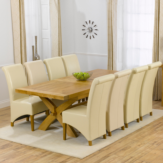 Avignon Solid Oak Extending Dining Table And 8 Barcelona Regarding Popular Extending Dining Table Sets (View 12 of 20)