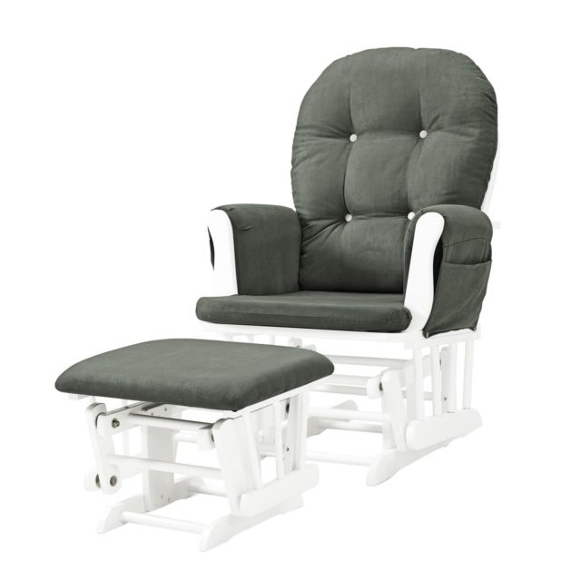 Baby Relax Carly Gray White Nursery Rocker Seat Glider Ottoman Pertaining To Famous Carly Side Chairs (View 2 of 20)