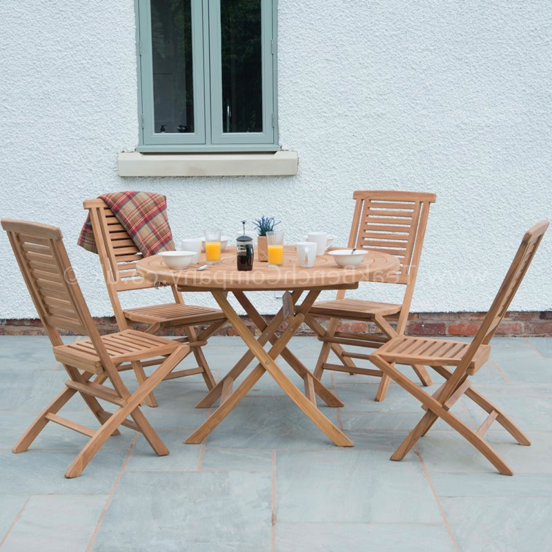 Balmoral Teak Garden Furniture Dining Set 4 Seat Round Folding Table Intended For 2018 Dining Tables With Fold Away Chairs (Gallery 18 of 20)