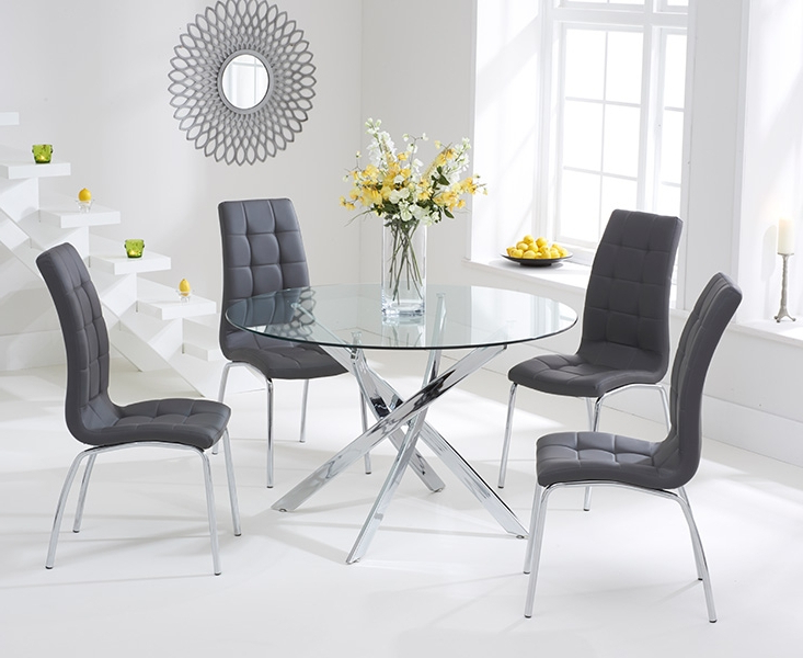 Bari Glass 110cm Round Dining Set With 2 Forli Grey Chairs Regarding Latest Dining Tables Grey Chairs (View 3 of 20)