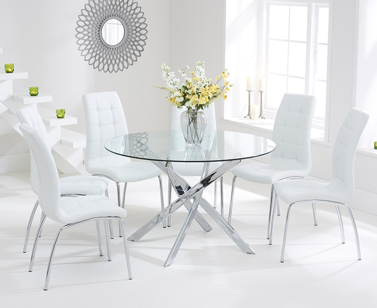 Bari Glass 120cm Round Dining Set With 4 Forli White Chairs Pertaining To Favorite Glass Dining Tables White Chairs (View 6 of 20)