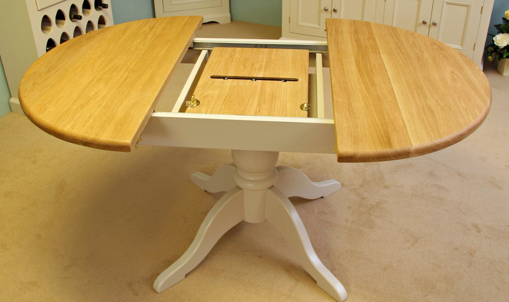 Barley Round Oak Dining Table Handmade To Size In The Uk For Green Inside Famous Extendable Round Dining Tables (View 11 of 20)