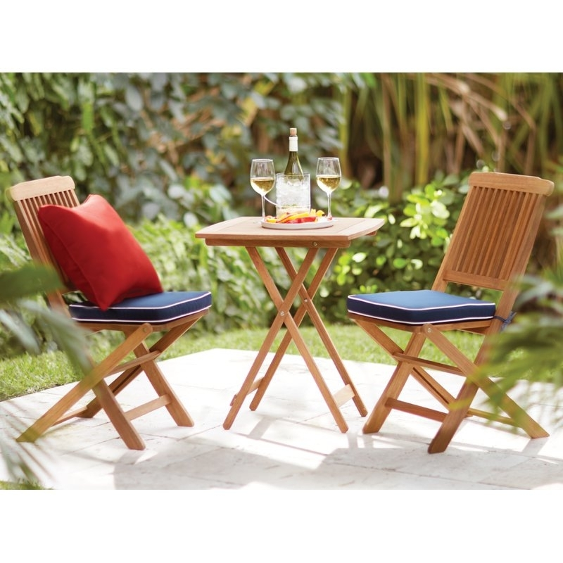 Beachcrest Home Sunny Isles Brazilian Eucalyptus 3 Piece Bistro Set Within 2017 Cora 5 Piece Dining Sets (View 1 of 20)