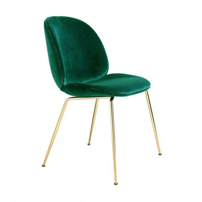 Beetle Dining Chair Green Velvet With Brass Legs – The Conran Shop In Famous Velvet Dining Chairs (View 4 of 20)