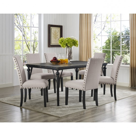 Beige 7 Pc Dining Set With Fabric Chairs Br04 167 70 Bei For Best And Newest Dining Tables And Fabric Chairs (Gallery 12 of 20)