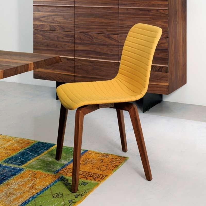 Bellini Modern Living – Vela Chair, Yellow Pu Upholstery With Walnut Within Most Popular Vela Side Chairs (View 2 of 20)