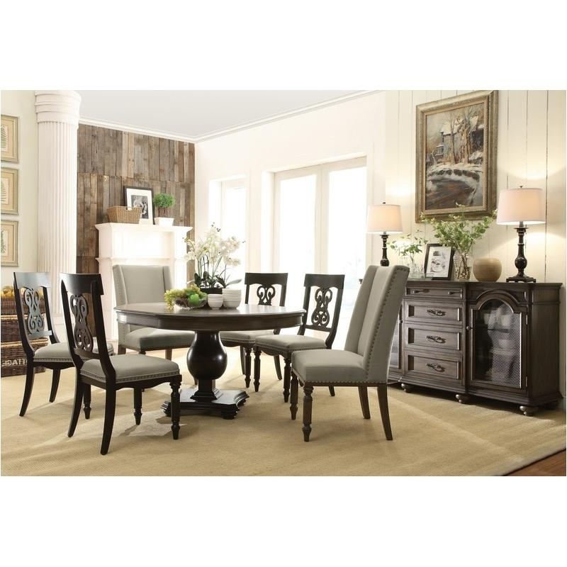 Belmeade Side Chairs With Well Known 15851 Riverside Furniture Round Dining Table – Oak With Black (View 8 of 20)