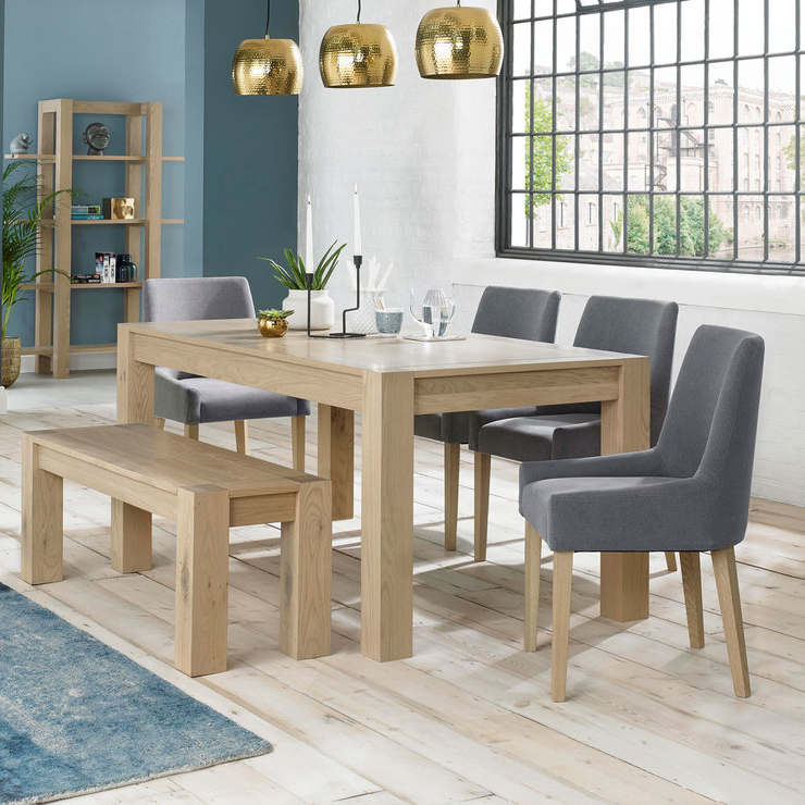 Bentley Designs Turin Aged Oak Extending Dining Table With Bench + 4 In 2018 Oak Extending Dining Tables And 4 Chairs (View 14 of 20)