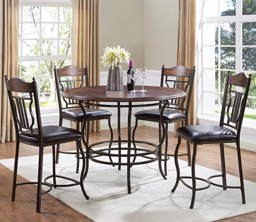 Bernards Midland 5 Piece Metal/wood Round Counter Dining Table Set Within Recent Jaxon 5 Piece Round Dining Sets With Upholstered Chairs (View 8 of 20)