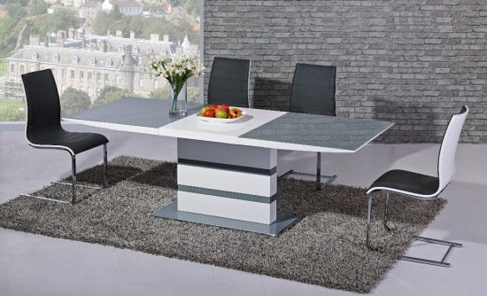 Best And Newest Arctic Grey And White High Gloss Extending Dining Table Dtx 2104gw For High Gloss White Extending Dining Tables (View 4 of 20)