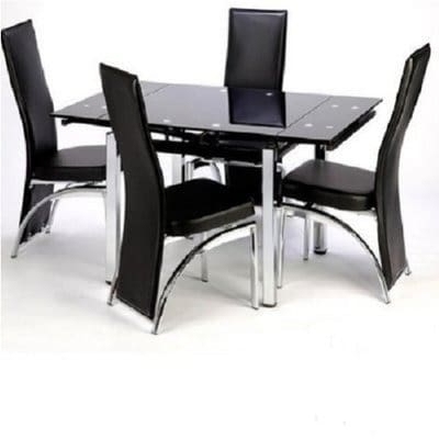Best And Newest Black Glass Dining Tables And 4 Chairs Throughout Buy Extending Glass Dining Table With 4 Chairs – Black (View 3 of 20)