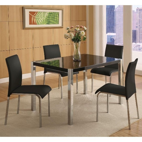 Best And Newest Black Gloss Dining Room Furniture In Stefan Hi Gloss Black Dining Table And 4 Chairs  (View 1 of 20)