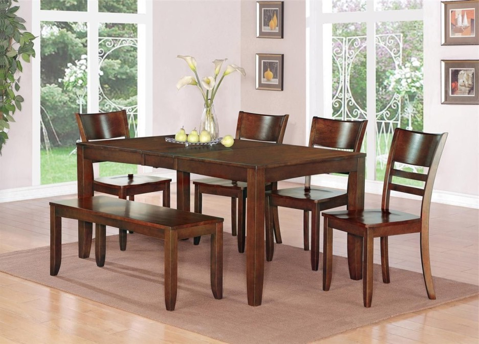 Best And Newest Brown Lacquer Mahogany Wood Dining Table With 4 Tapered Legs And 4 With Mahogany Dining Tables And 4 Chairs (View 1 of 20)