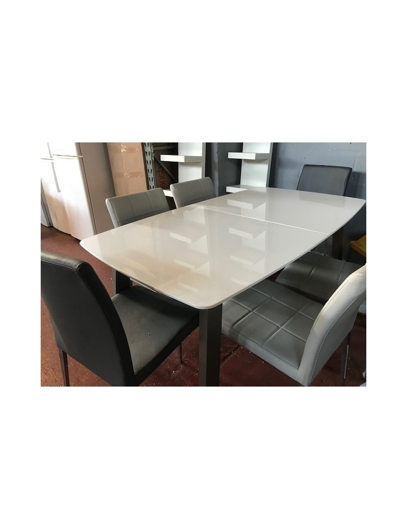 Best And Newest Brushed Metal Dining Tables Inside Clearance Stock High White Gloss Extendable Modern Dining Table (View 8 of 20)